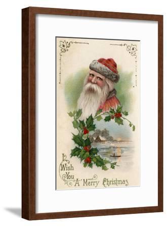 Wish You a Merry Christmas - Santa with a Lake Scene-Lantern Press-Framed Art Print