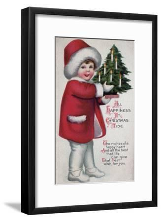 All Happiness at Christmas Tide - Child Holding a Tree-Lantern Press-Framed Art Print