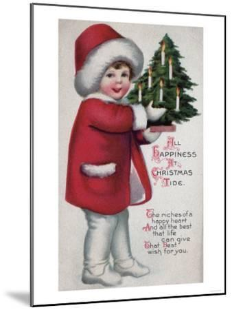 All Happiness at Christmas Tide - Child Holding a Tree-Lantern Press-Mounted Art Print
