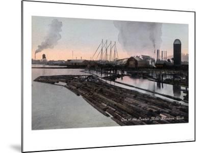 Aberdeen, Washington - View of a Lumber Mill-Lantern Press-Mounted Art Print