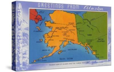 Alaska - Greetings From Alaska Map-Lantern Press-Stretched Canvas Print