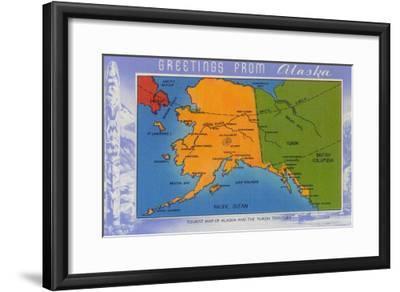 Alaska - Greetings From Alaska Map-Lantern Press-Framed Art Print