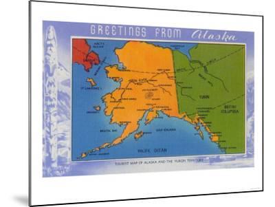Alaska - Greetings From Alaska Map-Lantern Press-Mounted Art Print