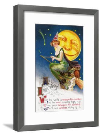 All Halloween Witch on a Broom by Full Moon Scene-Lantern Press-Framed Art Print