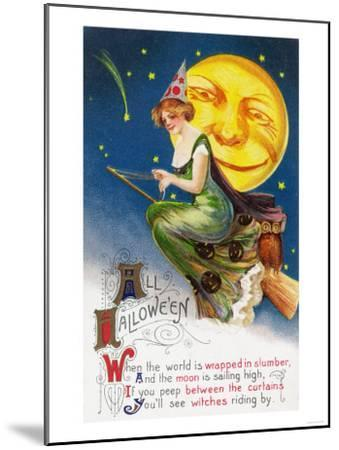All Halloween Witch on a Broom by Full Moon Scene-Lantern Press-Mounted Art Print