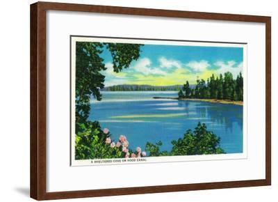 Sheltered Cove on Hood Canal - Hood Canal, WA-Lantern Press-Framed Art Print