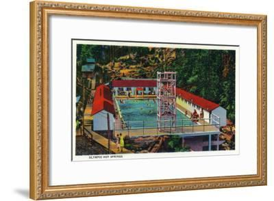 Olympic Hot Springs, Olympic National Park - Olympic National Park-Lantern Press-Framed Art Print