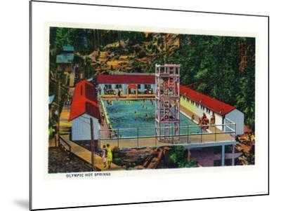 Olympic Hot Springs, Olympic National Park - Olympic National Park-Lantern Press-Mounted Art Print
