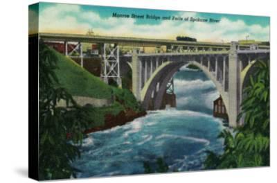Monroe Street Bridge and Falls on Spokane River - Spokane, WA-Lantern Press-Stretched Canvas Print