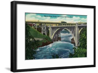 Monroe Street Bridge and Falls on Spokane River - Spokane, WA-Lantern Press-Framed Art Print