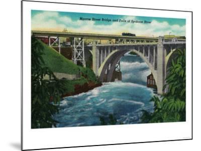 Monroe Street Bridge and Falls on Spokane River - Spokane, WA-Lantern Press-Mounted Art Print