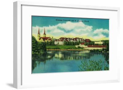 Gonzaga University and St. Aloysius Church, Spokane - Spokane, WA-Lantern Press-Framed Art Print