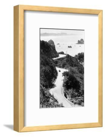 Aerial View of Redwood Highway with Old Car - California-Lantern Press-Framed Art Print