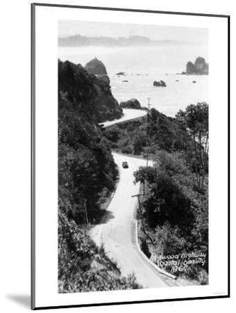 Aerial View of Redwood Highway with Old Car - California-Lantern Press-Mounted Art Print