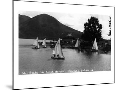 View of Sail Boats in Yacht Harbor - Clear Lake, CA-Lantern Press-Mounted Art Print