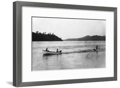 Aquaplaning on the Lake - Clear Lake, CA-Lantern Press-Framed Art Print