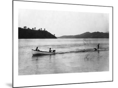 Aquaplaning on the Lake - Clear Lake, CA-Lantern Press-Mounted Art Print