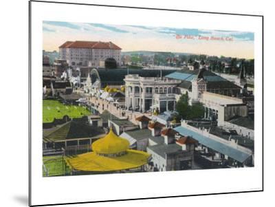 Aerial View of the Pike - Long Beach, CA-Lantern Press-Mounted Art Print
