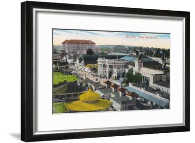 Aerial View of the Pike - Long Beach, CA-Lantern Press-Framed Art Print