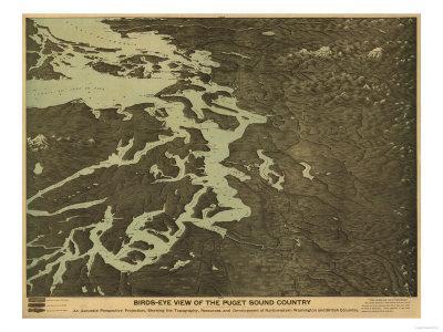 Washington - Panoramic Map of Puget Soung-Lantern Press-Framed Art Print