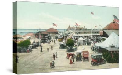 Aerial View of Tent City and Amusement Plaza - Coronado Beach, CA-Lantern Press-Stretched Canvas Print