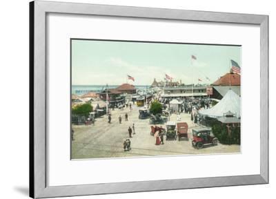 Aerial View of Tent City and Amusement Plaza - Coronado Beach, CA-Lantern Press-Framed Art Print