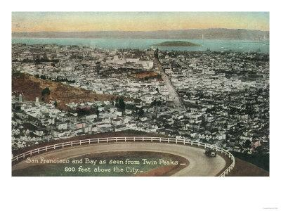 Aerial of the City from the Twin Peaks - San Francisco, CA-Lantern Press-Framed Art Print