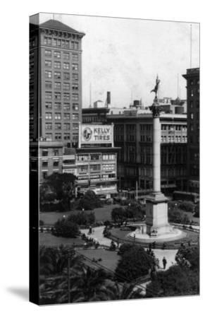 Aerial View of Union Square - San Francisco, CA-Lantern Press-Stretched Canvas Print