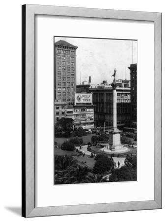 Aerial View of Union Square - San Francisco, CA-Lantern Press-Framed Art Print