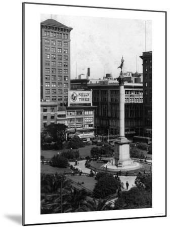 Aerial View of Union Square - San Francisco, CA-Lantern Press-Mounted Art Print
