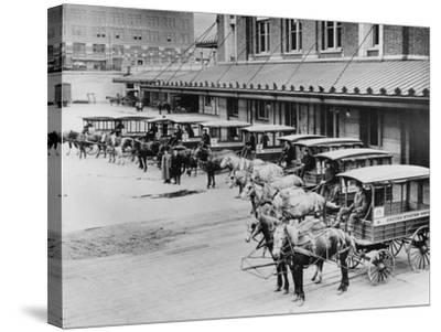 USPS Mail Wagons Photograph - Seattle, WA-Lantern Press-Stretched Canvas Print