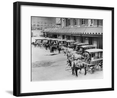USPS Mail Wagons Photograph - Seattle, WA-Lantern Press-Framed Art Print