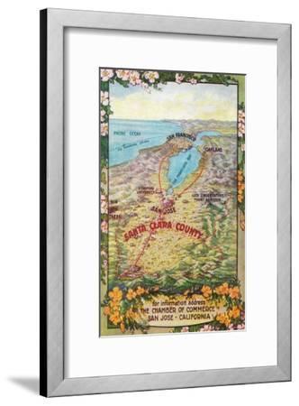 Aerial Map of Santa Clara County - San Jose, CA-Lantern Press-Framed Art Print