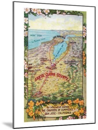 Aerial Map of Santa Clara County - San Jose, CA-Lantern Press-Mounted Art Print