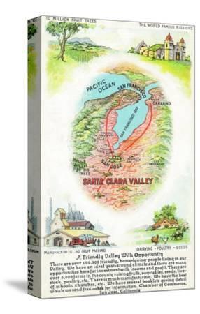 Aerial Map of Santa Clara County with Sites - Santa Clara Valley, CA-Lantern Press-Stretched Canvas Print