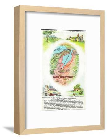 Aerial Map of Santa Clara County with Sites - Santa Clara Valley, CA-Lantern Press-Framed Art Print