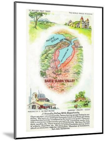 Aerial Map of Santa Clara County with Sites - Santa Clara Valley, CA-Lantern Press-Mounted Art Print