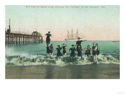 View of the Surf, Balboa in the Distance - Santa Cruz, CA-Lantern Press-Framed Art Print