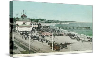 View of the Casino, Beach, and Pier - Santa Cruz, CA-Lantern Press-Stretched Canvas Print