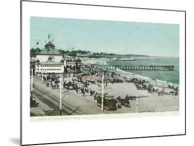 View of the Casino, Beach, and Pier - Santa Cruz, CA-Lantern Press-Mounted Art Print