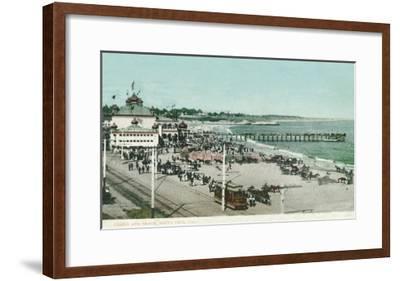 View of the Casino, Beach, and Pier - Santa Cruz, CA-Lantern Press-Framed Art Print
