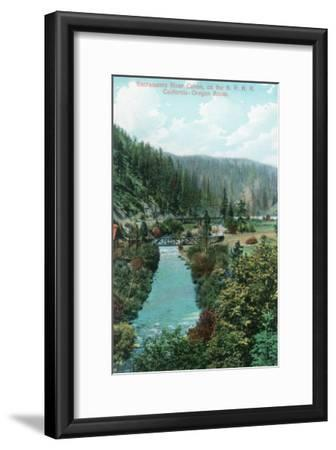 View of the Sacramento River Canyon on SP Railroad - California-Lantern Press-Framed Art Print