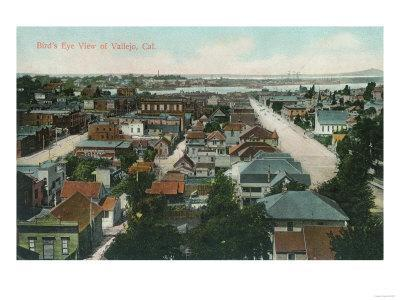 Aerial View of the City - Vallejo, CA-Lantern Press-Framed Art Print