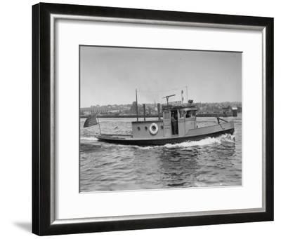 Harbor Patrol Boat Photograph - Seattle, WA-Lantern Press-Framed Art Print