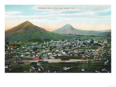 Aerial View of the City - San Luis Obispo, CA-Lantern Press-Framed Art Print