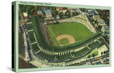 Aerial View of Wrigley Field No. 2 - Chicago, IL-Lantern Press-Stretched Canvas Print
