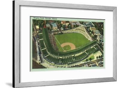 Aerial View of Wrigley Field No. 2 - Chicago, IL-Lantern Press-Framed Art Print