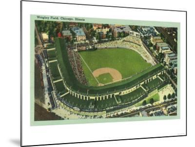 Aerial View of Wrigley Field No. 2 - Chicago, IL-Lantern Press-Mounted Art Print