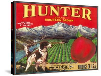 Hunter Apple Label - Wenatchee, WA-Lantern Press-Stretched Canvas Print