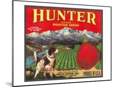Hunter Apple Label - Wenatchee, WA-Lantern Press-Mounted Art Print